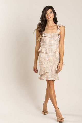 Cassandra Gold Tweed Ruffle Dress Dresses Just Me