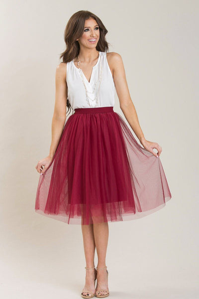 Eloise Tulle Midi Skirt Skirts Esley Burgundy X-Small