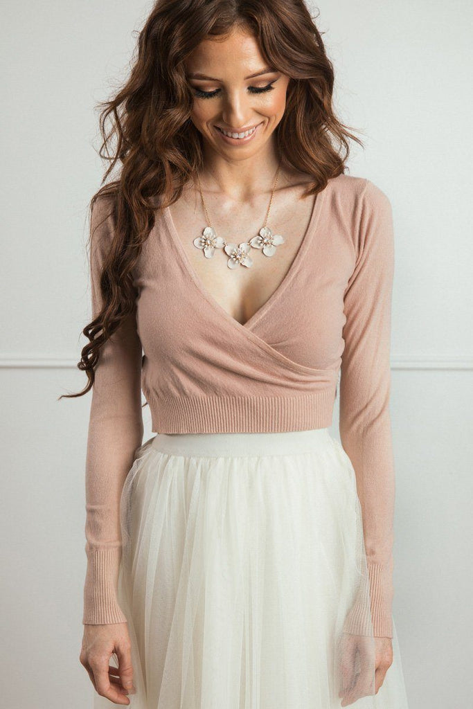 Rosette Surplice Sweater Top Sweaters Dreamers Blush Small/Medium