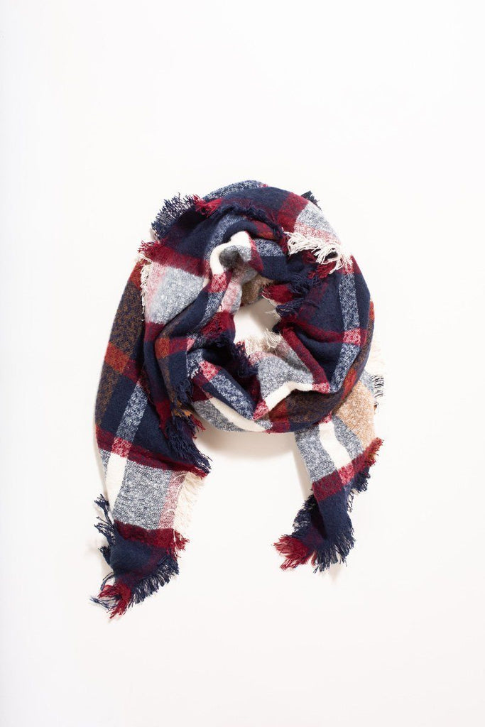 Fiona Red, Navy, and White Plaid Scarf Scarves JOIA
