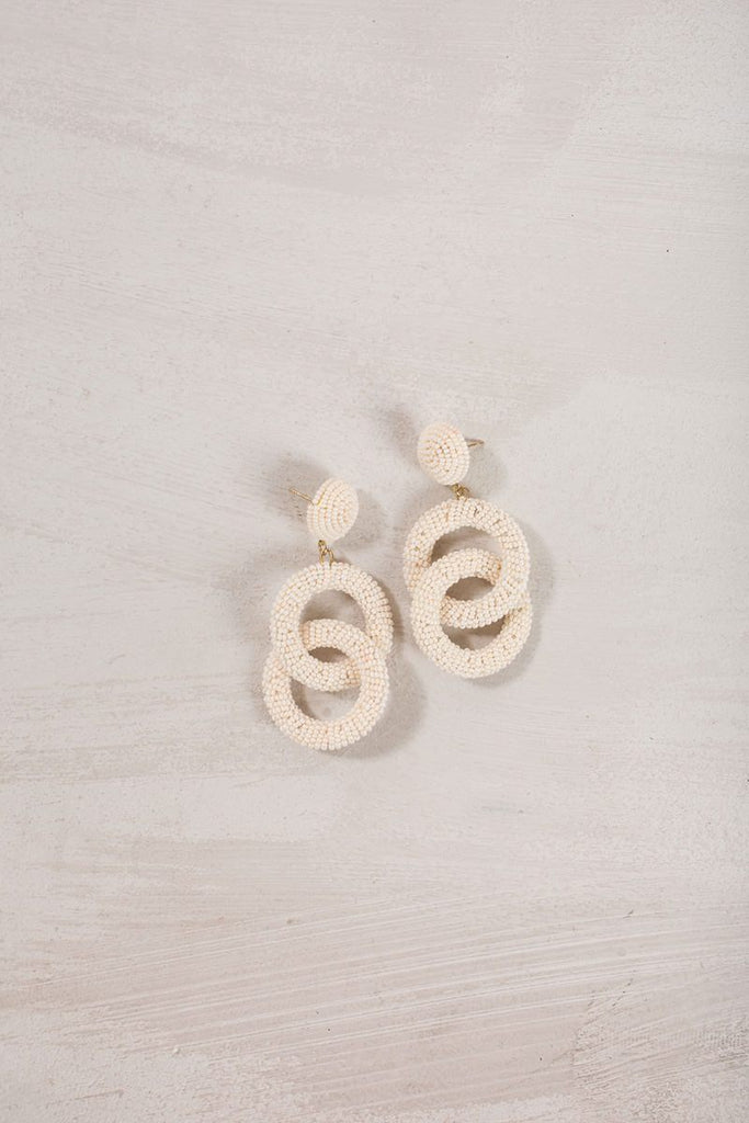 Charlotte Beaded Dangle Earrings Earrings Joia Ivory