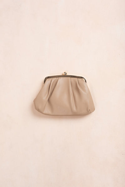 Beatrice Beige Faux Leather Clutch Handbags Fame Beige