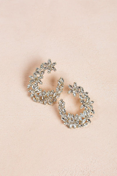 Darcy Crsytal Flower Statement Earrings Earrings Fame Crsytal