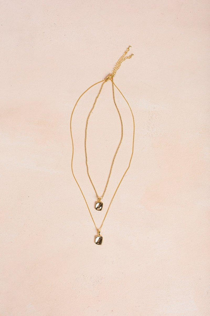 Mikayla Gold Layered Square Necklace Necklaces Fame