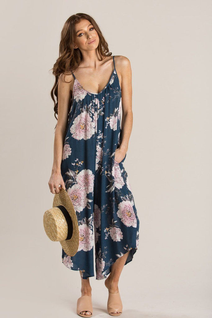 4775a15e6 Elina Blue Floral Relaxed Jumpsuit Jumpsuits Millibon Blue Small
