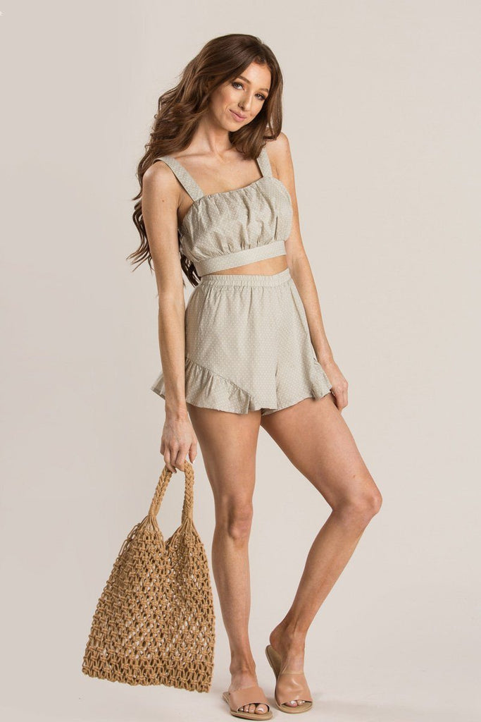 Jordie Polka Dot Two Piece Short Set Dresses HYFVE Khaki Small