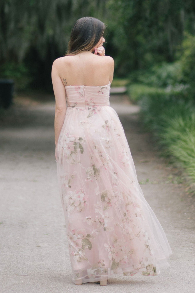 Ellen Blush Floral Tulle Maxi Dress Dresses Maniju