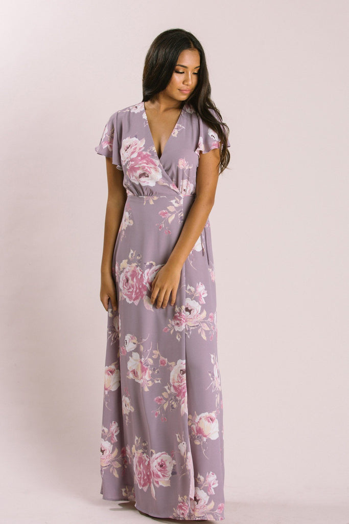Petite Charlotte Floral Wrap Maxi Dress Dresses Everly Lavender XSP