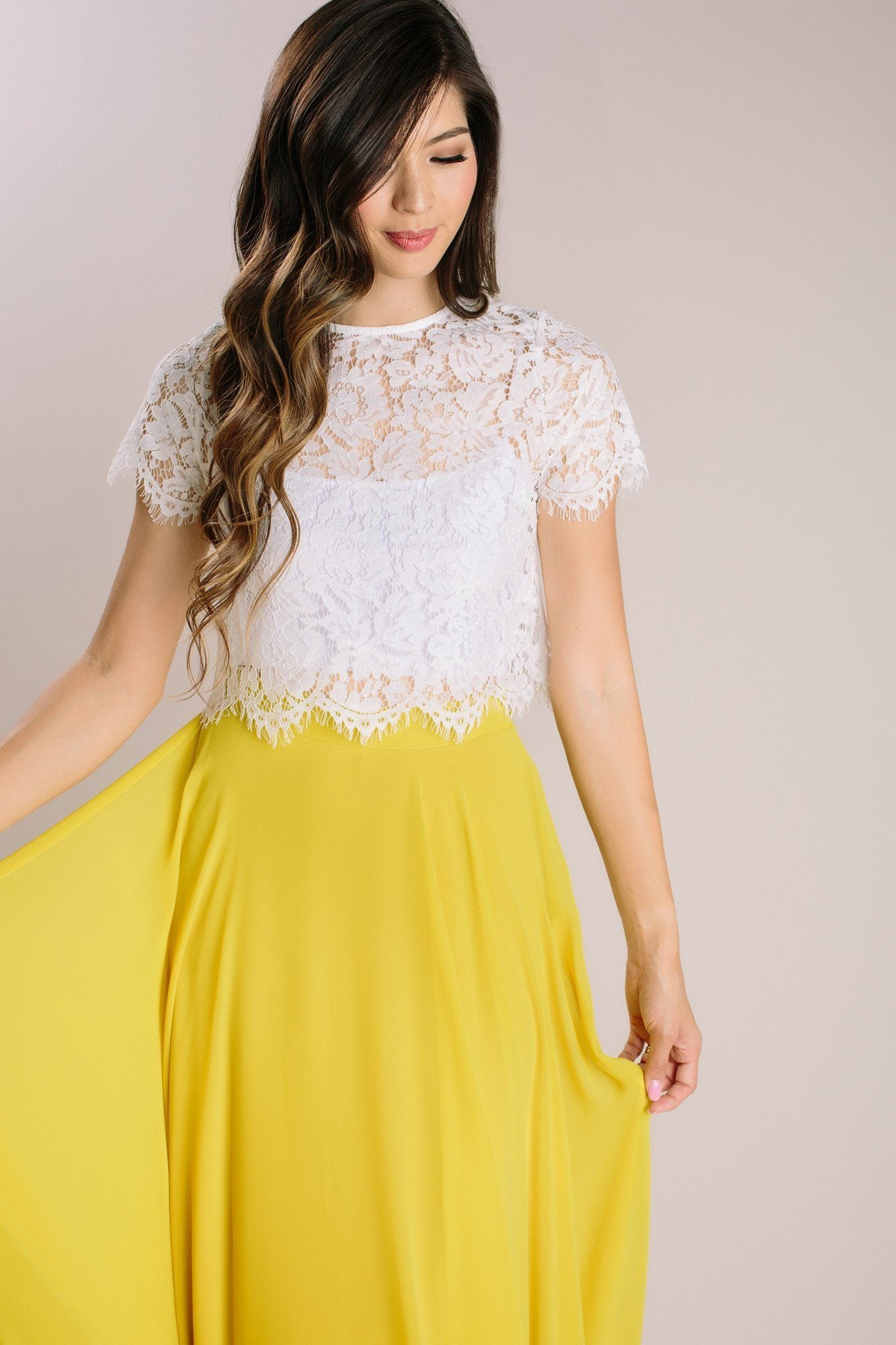 Camille Ivory Short Sleeve Lace Top by Morning Lavender