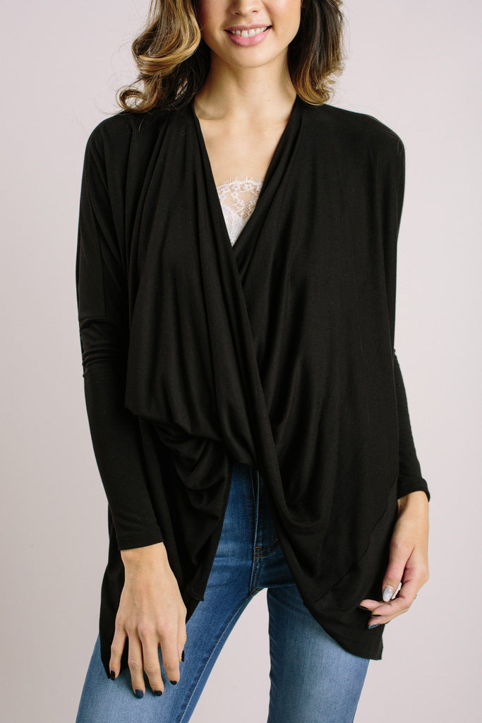Selena Black Surplice Longsleeve Top Tops Audrey 3+1