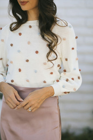 Aria Dot Pom Pom Sweater -Morning Lavender