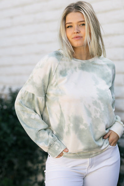 Bailey Tie Dye Crewneck Pullover Sweaters Lush Sage Tie Dye Small