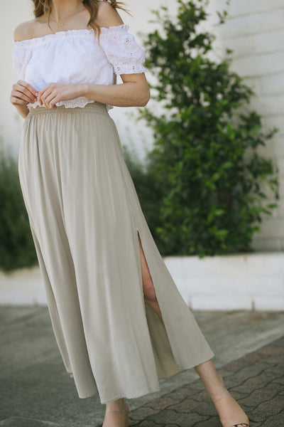 Angela Smocked Maxi Skirt Skirts Final Touch Fog Small