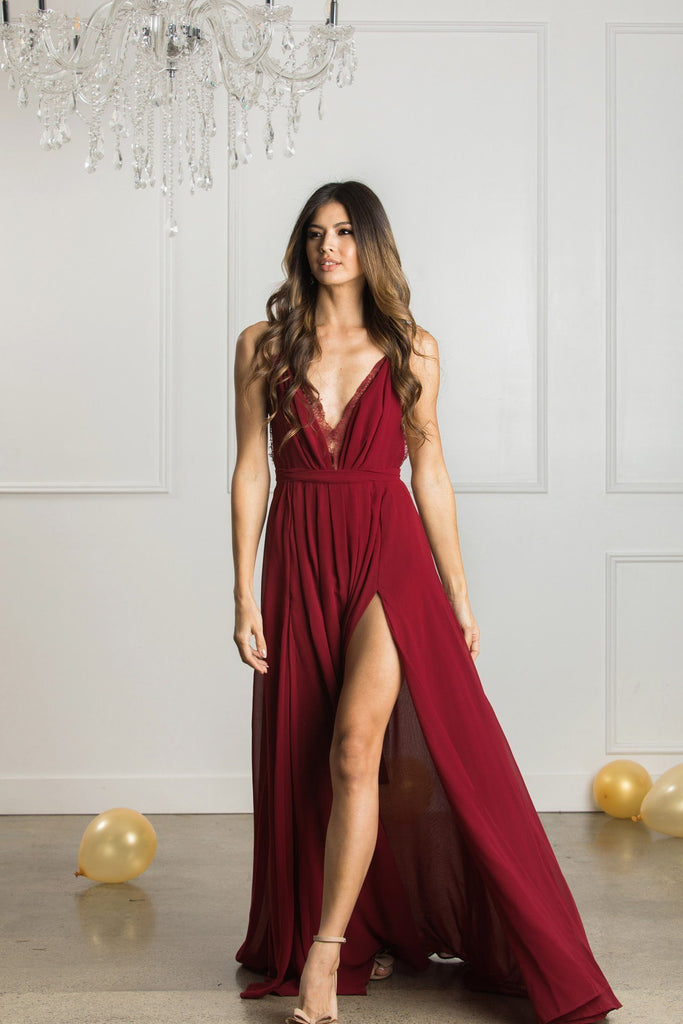 Cassia Burgundy Lace Detail Maxi Dress