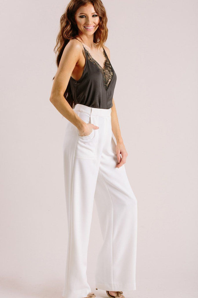 Elaine White Wide Leg Pants Pants Lucy Paris