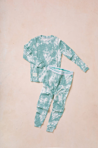 Kids Long Sleeve Tie Dye Pajama Set Kids Salon De Bebe Sky XS (12-24M)