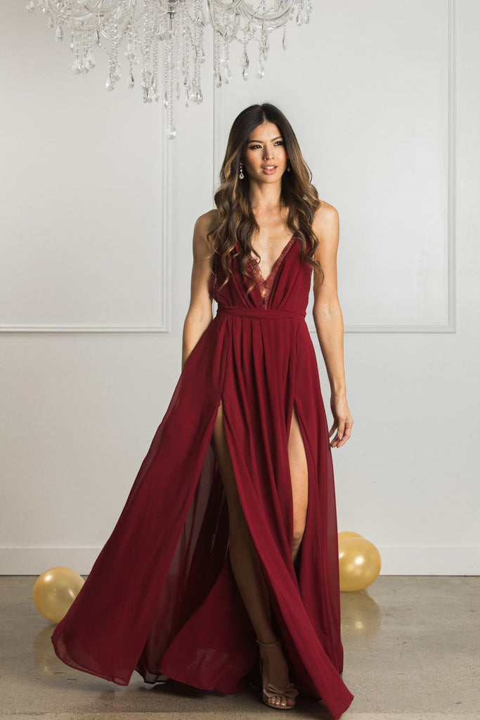 Cassia Burgundy Maxi Dress Dresses Luxell