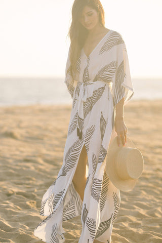 Ariella Kimono Sleeve Fern Print Maxi Dress Dresses Aakaa