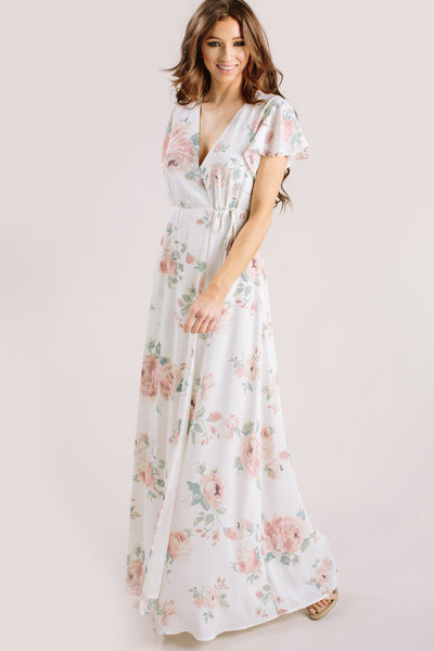 Charlotte Floral Wrap Maxi Dress Dresses Everly Ivory X-Small