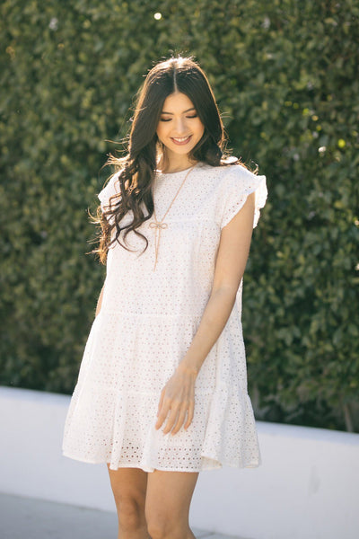 Julia Tiered Eyelet Mini Dress Dresses Hayden Off White Small