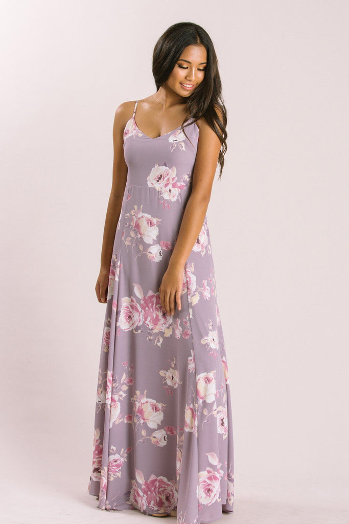 Petite Sophie Lavender Floral Maxi Dress Dresses Everly Lavender XSP