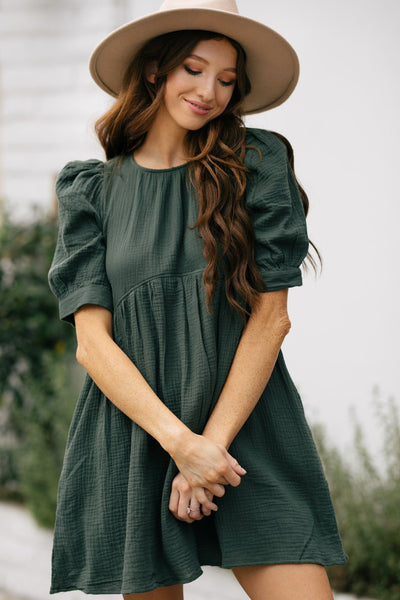 Aimee Short Sleeve Babydoll Dress Dresses & Merci Dusty Green Small