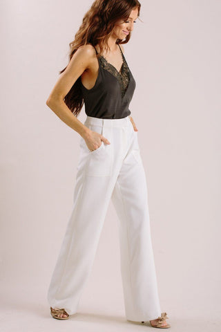Elaine White Wide Leg Pants