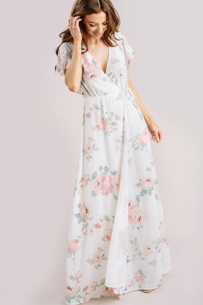 Charlotte Floral Wrap Maxi Dress Dresses Everly Ivory XS