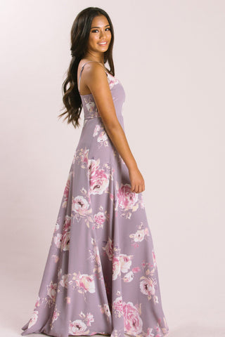 Petite Sophie Lavender Floral Maxi Dress Dresses Everly