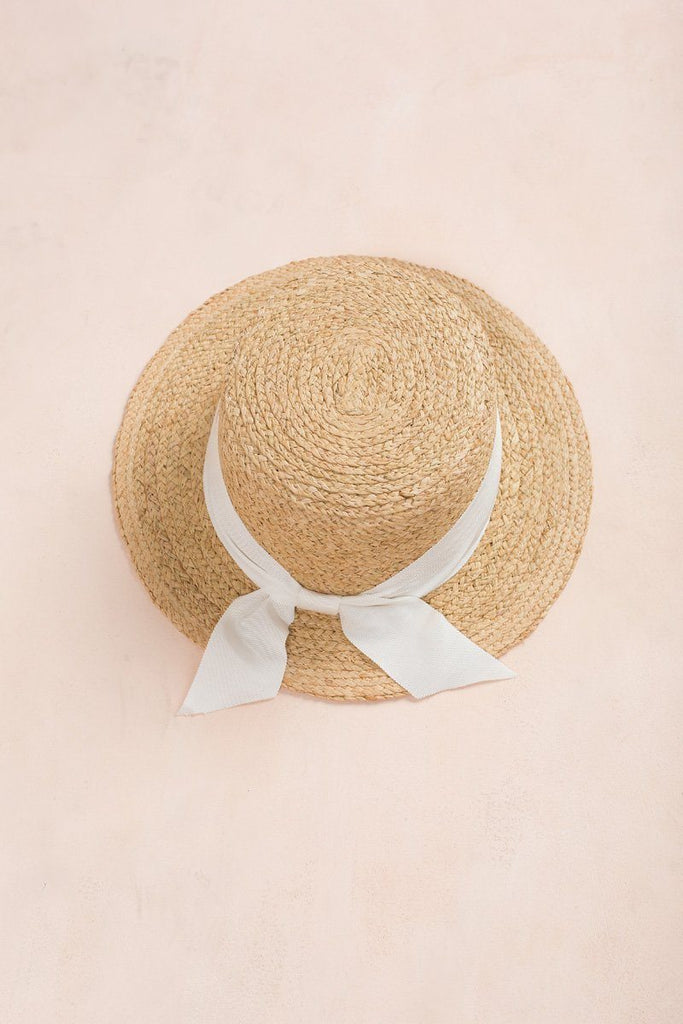Megan Ribbon Straw Hat Hats FAME White