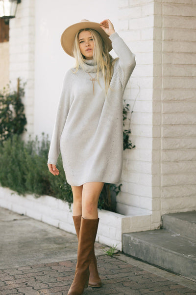 Blake Turtleneck Knit Sweater Dress Dresses Dress Forum Lt. Grey Small