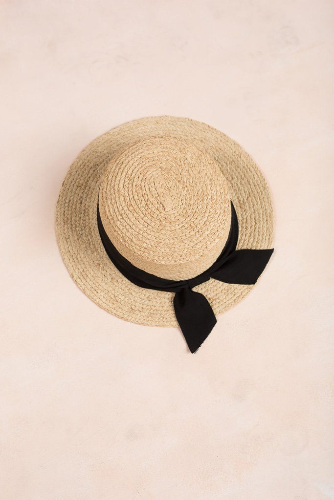 Megan Ribbon Straw Hat Hats FAME Black