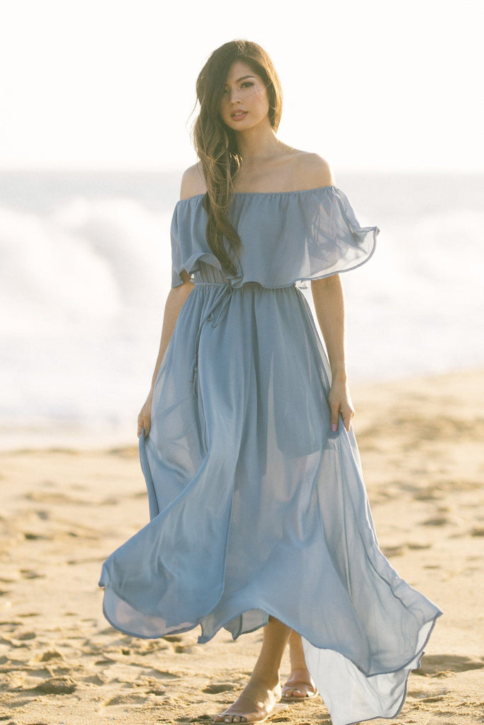 Alina Off the Shoulder Maxi Dress Dresses Aakaa Slate Blue Small