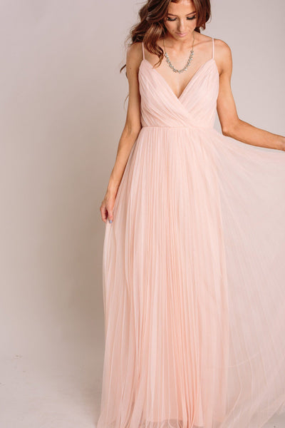 Scarlett Tulle Pleated Maxi Dress Dresses Maniju Blush X-Small