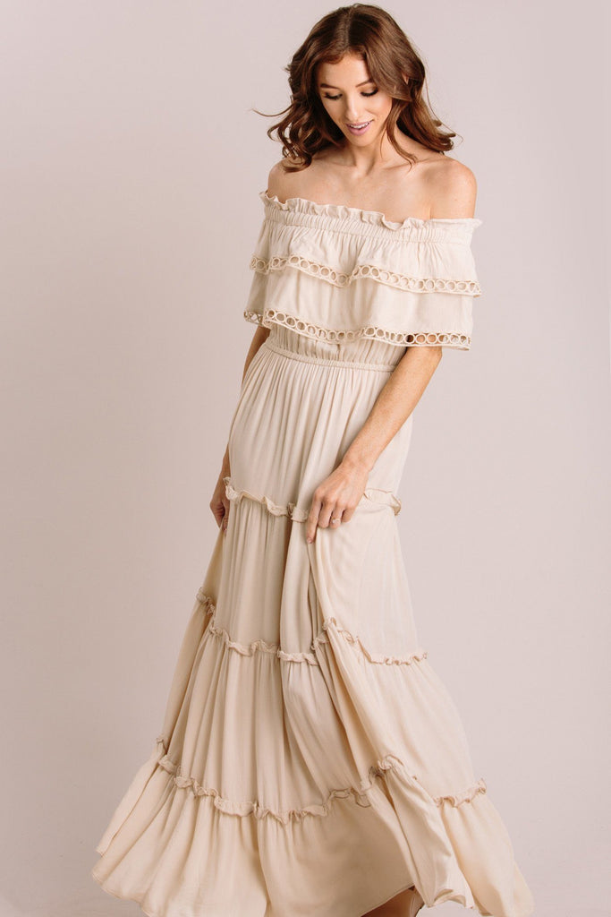 Maddie Off the Shoulder Maxi Dress Dresses MABLE Cream Small