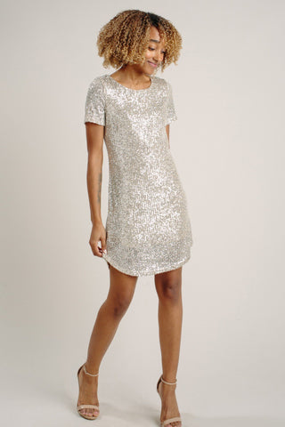 Nicolette Silver Sequin Shift Dress Dresses Sage