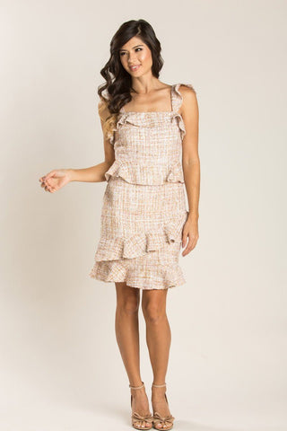 Cassandra Gold Tweed Ruffle Dress