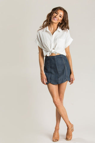 Anna White Button Up Top Tops Le Lis