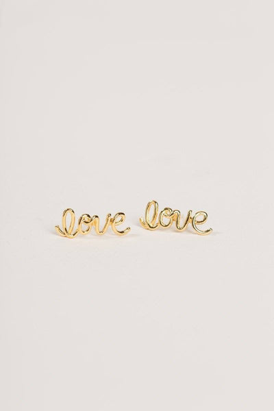 Callie Gold Love Script Earrings Earrings FAME