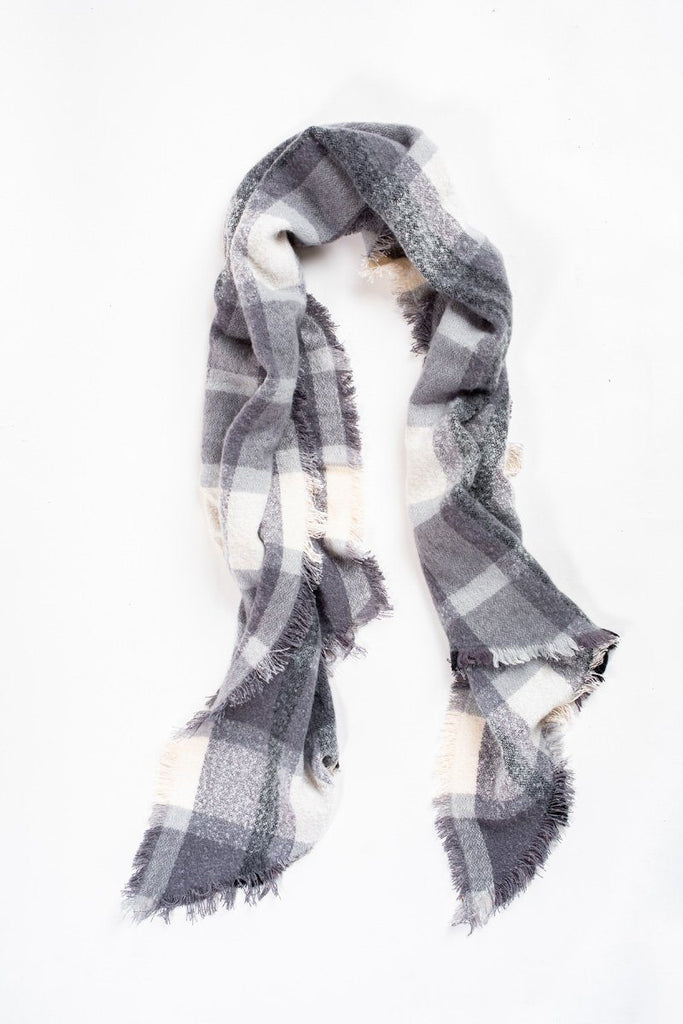 Mona Grey/Ivory Plaid Scarf Scarves JOIA