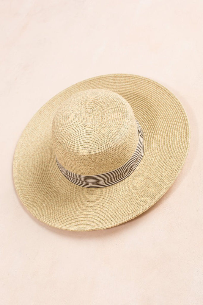 Jojo Straw Striped Ribbon Hat Hats Joia Beige