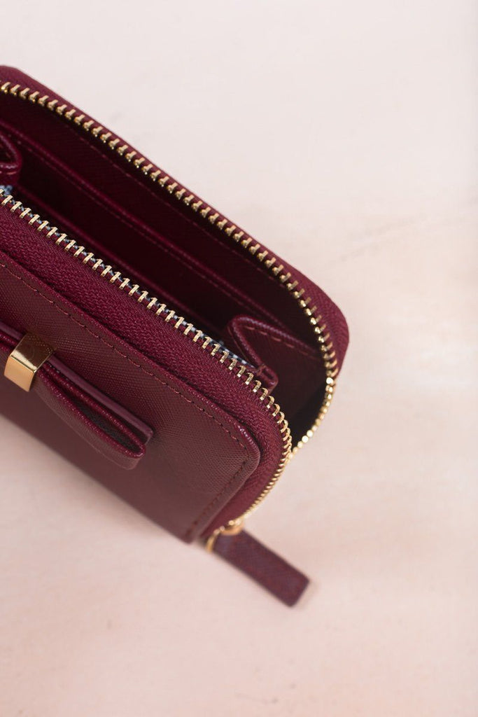 Becky Burgundy Bow Wallet Handbags MMS & Trading