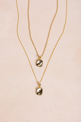 Mikayla Gold Layered Square Necklace Necklaces Fame Gold