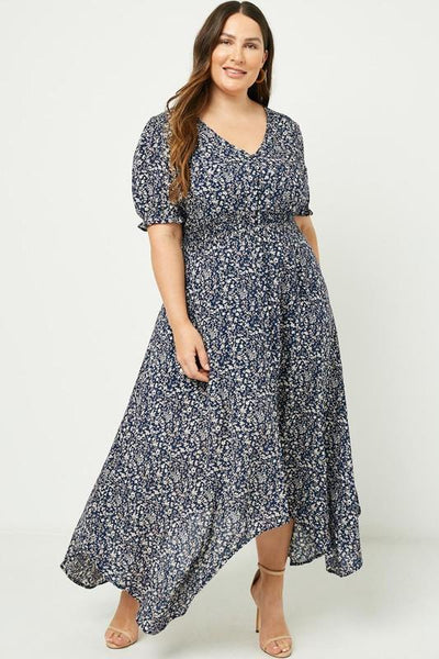 Curvy Belinda Floral Maxi Dress Dresses Hayden Navy 1XL