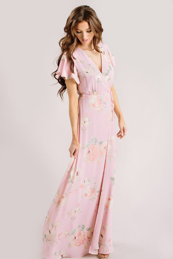 Charlotte Floral Wrap Maxi Dress Dresses Everly Blush XS
