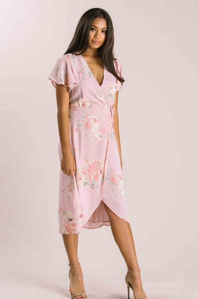 Petite Kenley Floral Wrap Midi Dress Dresses Everly Blush XSP