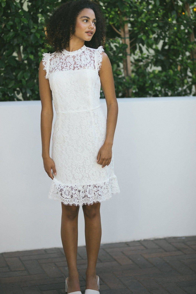 Brianne High Neck Lace Dress Dresses Storia White Small