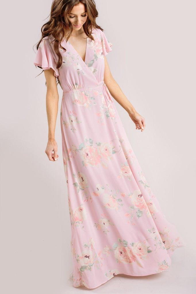 Charlotte Floral Wrap Maxi Dress Dresses Everly Blush Medium
