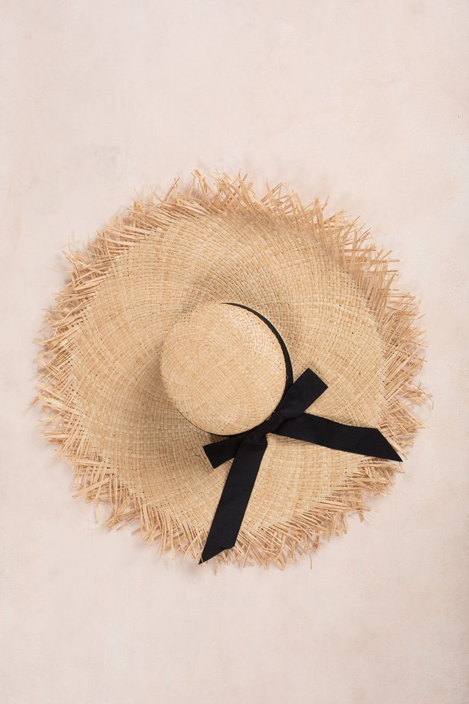 Jane Fringe Raw Edge Straw Hat Hats Fame Straw