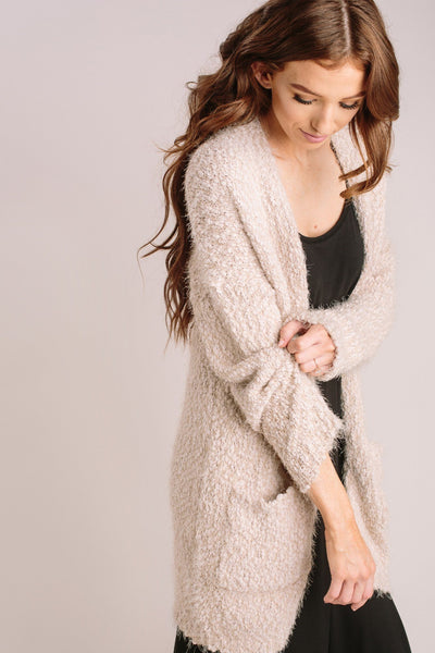 Ivy Popcorn Knit Cardigan Sweaters Dreamers L. Taupe X-Small/Small